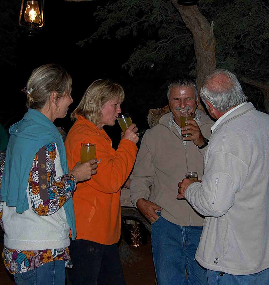 Namibian guests enjoying a laugh at Farmers day braai.