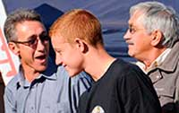 Nico Visser and his son, Theo, sharing a joke with Robbi Dauberschmidt