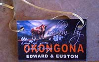Welcoming card at Okongona guest farm