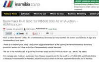 AllAfrica.com : Hartebeestloop bull goes for N$ 450 000 to Hansen
