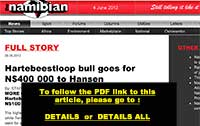 The Namibian: Hartebeestloop bull goes for N$ 400 000 to Hansen